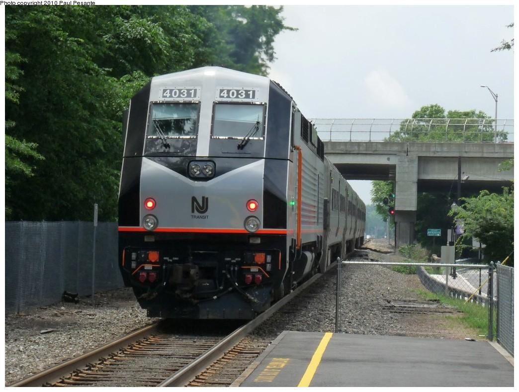 (228k, 1044x788)<br><b>Country:</b> United States<br><b>System:</b> NJ Transit (or Predecessor)<br><b>Line:</b> NJT Pascack Valley Line<br><b>Location:</b> New Bridge Landing (North Hackensack) <br><b>Car:</b> NJT Alstom PL42AC 4031 <br><b>Photo by:</b> Paul Pesante<br><b>Date:</b> 6/12/2009<br><b>Viewed (this week/total):</b> 3 / 1108