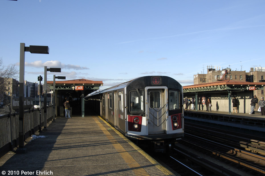 (154k, 930x618)<br><b>Country:</b> United States<br><b>City:</b> New York<br><b>System:</b> New York City Transit<br><b>Line:</b> IRT Pelham Line<br><b>Location:</b> Morrison/Soundview Aves. <br><b>Route:</b> 6<br><b>Car:</b> R-142A (Primary Order, Kawasaki, 1999-2002)  7410 <br><b>Photo by:</b> Peter Ehrlich<br><b>Date:</b> 1/6/2010<br><b>Notes:</b> Outbound<br><b>Viewed (this week/total):</b> 0 / 937