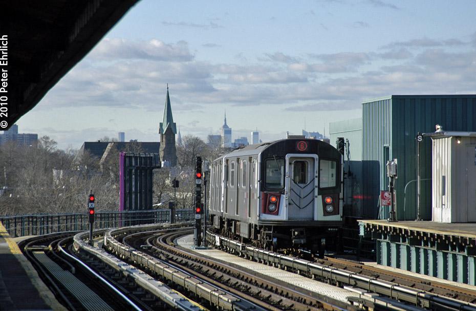 (189k, 930x608)<br><b>Country:</b> United States<br><b>City:</b> New York<br><b>System:</b> New York City Transit<br><b>Line:</b> IRT Pelham Line<br><b>Location:</b> Middletown Road <br><b>Route:</b> 6<br><b>Car:</b> R-142A (Primary Order, Kawasaki, 1999-2002)  7411 <br><b>Photo by:</b> Peter Ehrlich<br><b>Date:</b> 1/6/2010<br><b>Notes:</b> Inbound<br><b>Viewed (this week/total):</b> 1 / 1067
