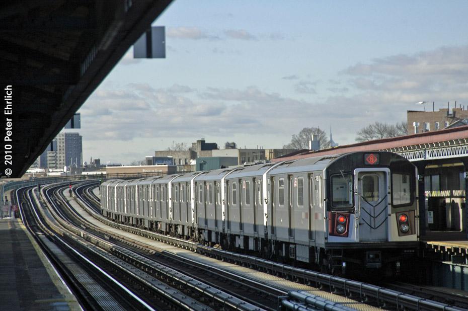 (175k, 930x618)<br><b>Country:</b> United States<br><b>City:</b> New York<br><b>System:</b> New York City Transit<br><b>Line:</b> IRT Pelham Line<br><b>Location:</b> Zerega Avenue <br><b>Route:</b> 6<br><b>Car:</b> R-142A (Primary Order, Kawasaki, 1999-2002)  7450 <br><b>Photo by:</b> Peter Ehrlich<br><b>Date:</b> 1/6/2010<br><b>Notes:</b> Inbound<br><b>Viewed (this week/total):</b> 0 / 968