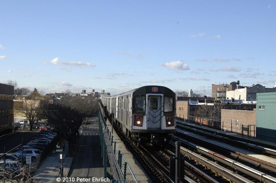 (147k, 930x618)<br><b>Country:</b> United States<br><b>City:</b> New York<br><b>System:</b> New York City Transit<br><b>Line:</b> IRT Pelham Line<br><b>Location:</b> Zerega Avenue <br><b>Route:</b> 6<br><b>Car:</b> R-142A (Primary Order, Kawasaki, 1999-2002)  7456 <br><b>Photo by:</b> Peter Ehrlich<br><b>Date:</b> 1/6/2010<br><b>Notes:</b> Outbound<br><b>Viewed (this week/total):</b> 0 / 876