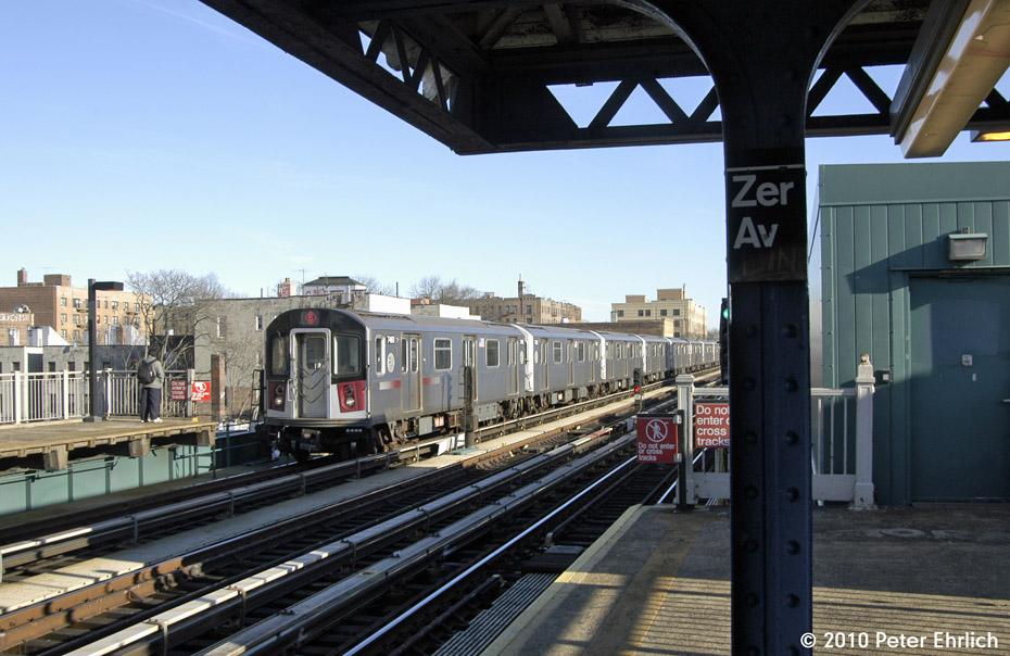 (182k, 930x604)<br><b>Country:</b> United States<br><b>City:</b> New York<br><b>System:</b> New York City Transit<br><b>Line:</b> IRT Pelham Line<br><b>Location:</b> Zerega Avenue <br><b>Route:</b> 6<br><b>Car:</b> R-142A (Primary Order, Kawasaki, 1999-2002)  7461 <br><b>Photo by:</b> Peter Ehrlich<br><b>Date:</b> 1/6/2010<br><b>Notes:</b> Inbound<br><b>Viewed (this week/total):</b> 0 / 854