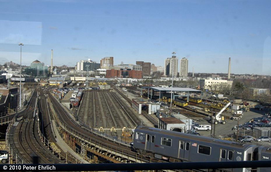 (181k, 930x592)<br><b>Country:</b> United States<br><b>City:</b> New York<br><b>System:</b> New York City Transit<br><b>Location:</b> Westchester Yard<br><b>Route:</b> 6<br><b>Car:</b> R-142A (Option Order, Kawasaki, 2002-2003)  7645 <br><b>Photo by:</b> Peter Ehrlich<br><b>Date:</b> 1/6/2010<br><b>Notes:</b> Approaching Westchester Yard<br><b>Viewed (this week/total):</b> 0 / 1978