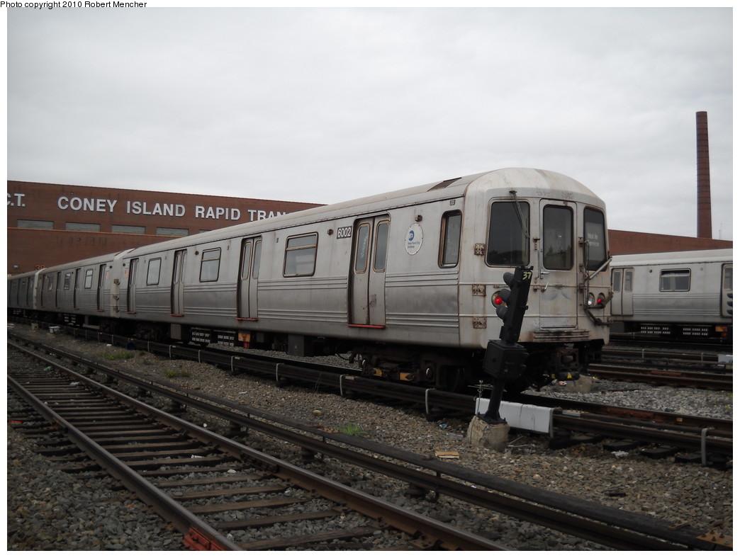 (212k, 1044x788)<br><b>Country:</b> United States<br><b>City:</b> New York<br><b>System:</b> New York City Transit<br><b>Location:</b> Coney Island Yard<br><b>Car:</b> R-46 (Pullman-Standard, 1974-75) 6002 <br><b>Photo by:</b> Robert Mencher<br><b>Date:</b> 4/16/2010<br><b>Viewed (this week/total):</b> 0 / 776