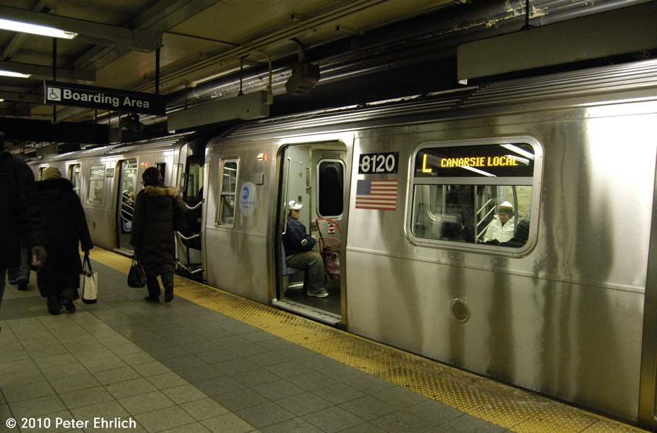 (188k, 930x614)<br><b>Country:</b> United States<br><b>City:</b> New York<br><b>System:</b> New York City Transit<br><b>Line:</b> BMT Canarsie Line<br><b>Location:</b> 8th Avenue <br><b>Route:</b> L<br><b>Car:</b> R-143 (Kawasaki, 2001-2002) 8120 <br><b>Photo by:</b> Peter Ehrlich<br><b>Date:</b> 1/6/2010<br><b>Viewed (this week/total):</b> 0 / 1262