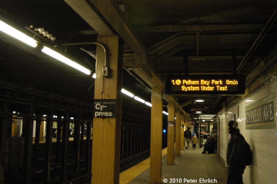 (155k, 930x618)<br><b>Country:</b> United States<br><b>City:</b> New York<br><b>System:</b> New York City Transit<br><b>Line:</b> IRT Pelham Line<br><b>Location:</b> Cypress Avenue <br><b>Photo by:</b> Peter Ehrlich<br><b>Date:</b> 1/6/2010<br><b>Notes:</b> Note new electronic Train Arrival Board being tested.<br><b>Viewed (this week/total):</b> 1 / 1624