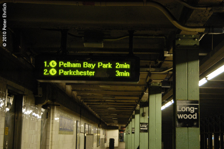 (153k, 930x618)<br><b>Country:</b> United States<br><b>City:</b> New York<br><b>System:</b> New York City Transit<br><b>Line:</b> IRT Pelham Line<br><b>Location:</b> Longwood Avenue <br><b>Photo by:</b> Peter Ehrlich<br><b>Date:</b> 1/6/2010<br><b>Notes:</b> New electronic Train Arrival Board<br><b>Viewed (this week/total):</b> 1 / 1796