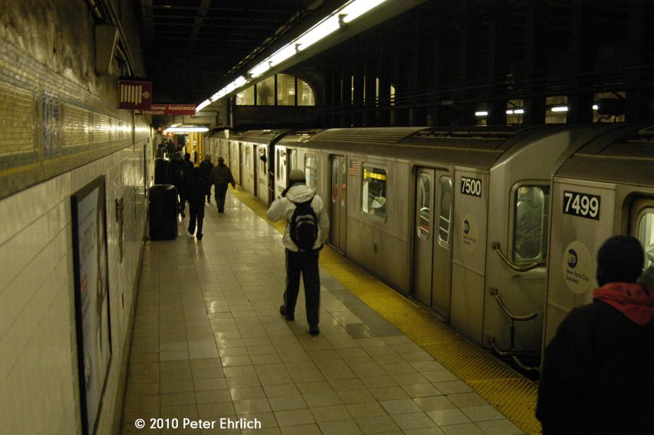 (164k, 930x618)<br><b>Country:</b> United States<br><b>City:</b> New York<br><b>System:</b> New York City Transit<br><b>Line:</b> IRT East Side Line<br><b>Location:</b> 96th Street <br><b>Route:</b> 6<br><b>Car:</b> R-142A (Primary Order, Kawasaki, 1999-2002)  7500 <br><b>Photo by:</b> Peter Ehrlich<br><b>Date:</b> 1/6/2010<br><b>Viewed (this week/total):</b> 1 / 1404