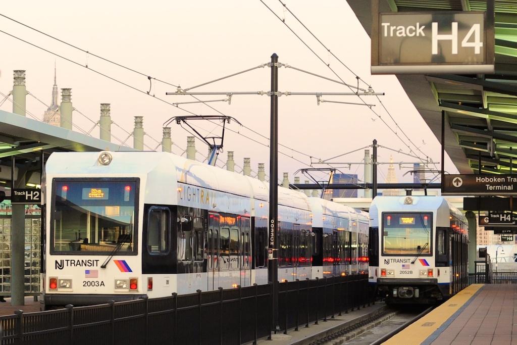 (233k, 1024x683)<br><b>Country:</b> United States<br><b>City:</b> Hoboken, NJ<br><b>System:</b> Hudson Bergen Light Rail<br><b>Location:</b> Hoboken <br><b>Car:</b> NJT-HBLR LRV (Kinki-Sharyo, 1998-99)  2003/2052 <br><b>Photo by:</b> Richard Panse<br><b>Date:</b> 12/17/2009<br><b>Viewed (this week/total):</b> 4 / 594