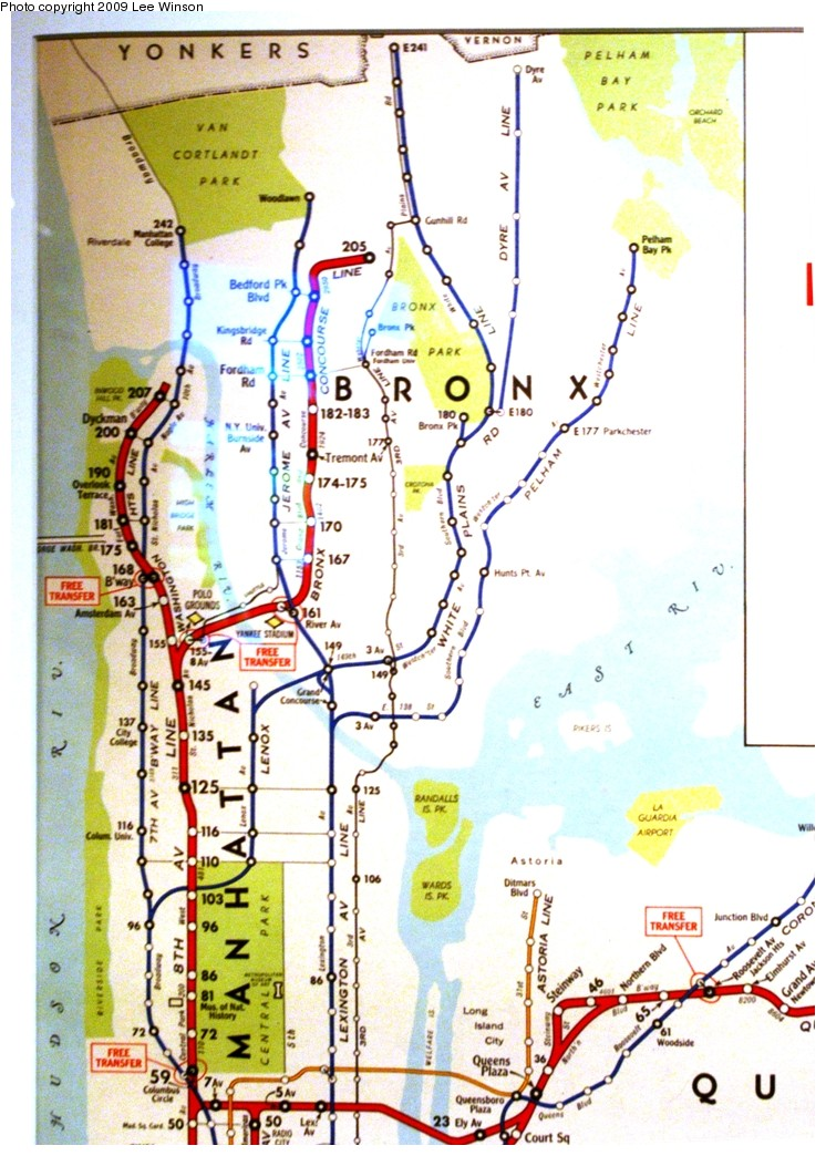 (236k, 746x1044)<br><b>Country:</b> United States<br><b>City:</b> New York<br><b>System:</b> New York City Transit<br><b>Location:</b> New York Transit Museum<br><b>Photo by:</b> Lee Winson<br><b>Date:</b> 10/11/2009<br><b>Notes:</b> Closeups of old subway map on display at Transit Museum annex (circa 1950?) Shows free transfers, some elevated lines, Canarsie trolley.<br><b>Viewed (this week/total):</b> 1 / 1133