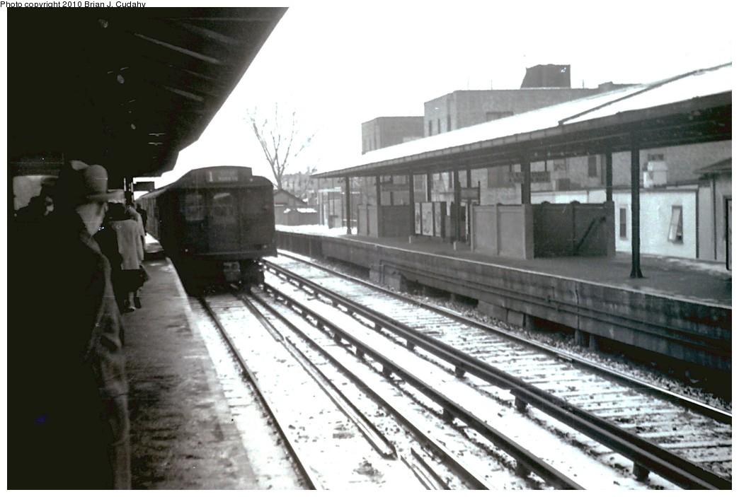 (161k, 1044x703)<br><b>Country:</b> United States<br><b>City:</b> New York<br><b>System:</b> New York City Transit<br><b>Line:</b> BMT Brighton Line<br><b>Location:</b> Kings Highway <br><b>Car:</b> BMT D-Type Triplex  <br><b>Photo by:</b> Brian J. Cudahy<br><b>Date:</b> 1955<br><b>Notes:</b> 57th Street-bound Brighton Express (Note uncovered third rail.)<br><b>Viewed (this week/total):</b> 0 / 1403