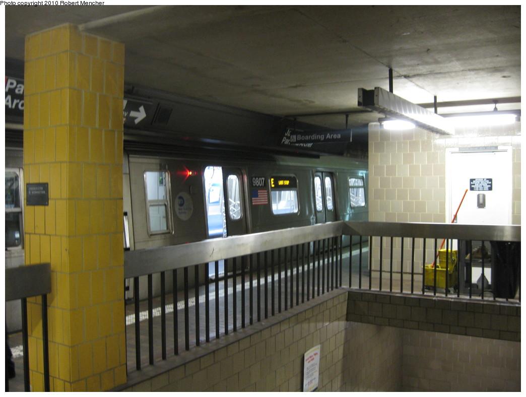 (185k, 1044x788)<br><b>Country:</b> United States<br><b>City:</b> New York<br><b>System:</b> New York City Transit<br><b>Line:</b> IND Queens Boulevard Line<br><b>Location:</b> Jamaica Center/Parsons-Archer <br><b>Route:</b> E<br><b>Car:</b> R-160B (Option 2) (Kawasaki, 2009)  9807 <br><b>Photo by:</b> Robert Mencher<br><b>Date:</b> 1/16/2010<br><b>Viewed (this week/total):</b> 1 / 1645