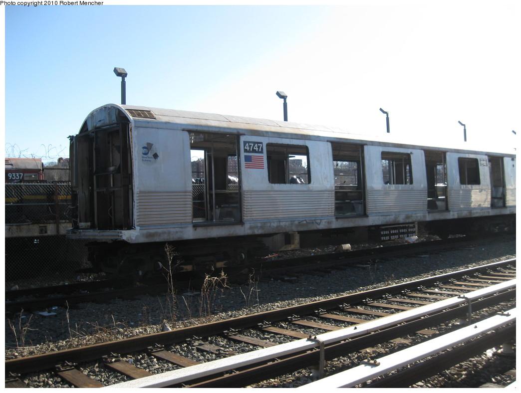 (196k, 1044x788)<br><b>Country:</b> United States<br><b>City:</b> New York<br><b>System:</b> New York City Transit<br><b>Location:</b> 207th Street Yard<br><b>Car:</b> R-42 (St. Louis, 1969-1970)  4747 <br><b>Photo by:</b> Robert Mencher<br><b>Date:</b> 1/18/2010<br><b>Notes:</b> Scrap<br><b>Viewed (this week/total):</b> 0 / 580