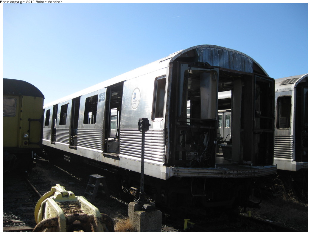 (166k, 1044x788)<br><b>Country:</b> United States<br><b>City:</b> New York<br><b>System:</b> New York City Transit<br><b>Location:</b> 207th Street Yard<br><b>Car:</b> R-42 (St. Louis, 1969-1970)  4575 <br><b>Photo by:</b> Robert Mencher<br><b>Date:</b> 1/18/2010<br><b>Notes:</b> Scrap<br><b>Viewed (this week/total):</b> 0 / 791