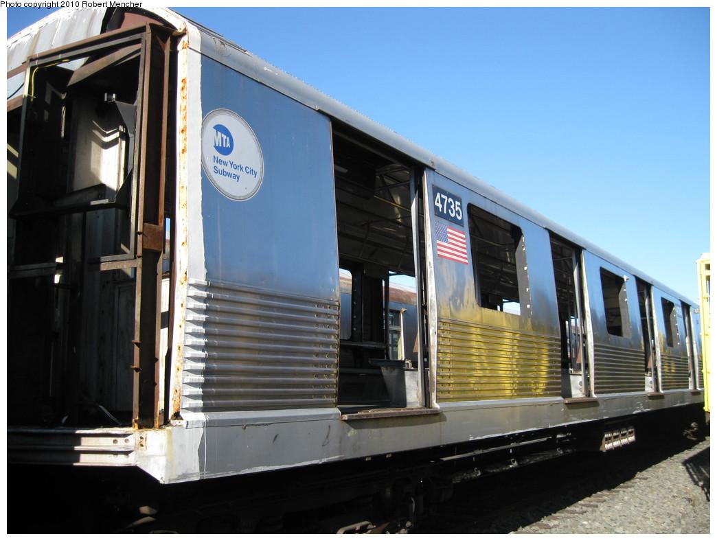 (193k, 1044x788)<br><b>Country:</b> United States<br><b>City:</b> New York<br><b>System:</b> New York City Transit<br><b>Location:</b> 207th Street Yard<br><b>Car:</b> R-42 (St. Louis, 1969-1970)  4735 <br><b>Photo by:</b> Robert Mencher<br><b>Date:</b> 1/18/2010<br><b>Notes:</b> Scrap<br><b>Viewed (this week/total):</b> 3 / 702