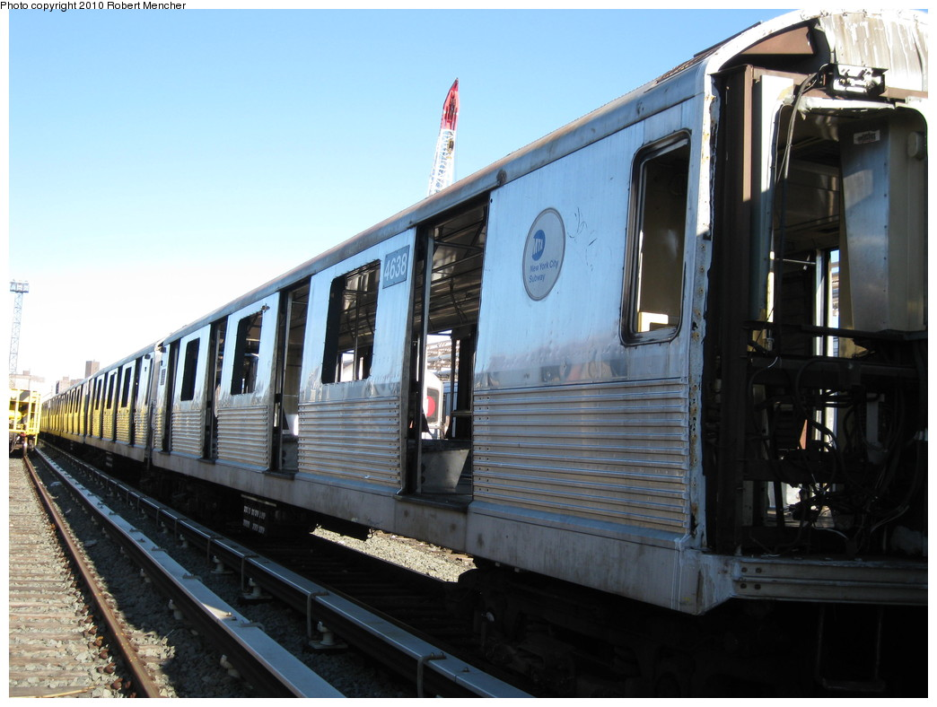 (200k, 1044x788)<br><b>Country:</b> United States<br><b>City:</b> New York<br><b>System:</b> New York City Transit<br><b>Location:</b> 207th Street Yard<br><b>Car:</b> R-42 (St. Louis, 1969-1970)  4638 <br><b>Photo by:</b> Robert Mencher<br><b>Date:</b> 1/18/2010<br><b>Notes:</b> Scrap<br><b>Viewed (this week/total):</b> 1 / 559