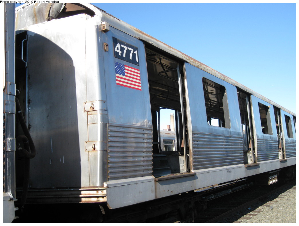 (188k, 1044x788)<br><b>Country:</b> United States<br><b>City:</b> New York<br><b>System:</b> New York City Transit<br><b>Location:</b> 207th Street Yard<br><b>Car:</b> R-42 (St. Louis, 1969-1970)  4771 <br><b>Photo by:</b> Robert Mencher<br><b>Date:</b> 1/18/2010<br><b>Notes:</b> Scrap<br><b>Viewed (this week/total):</b> 0 / 617