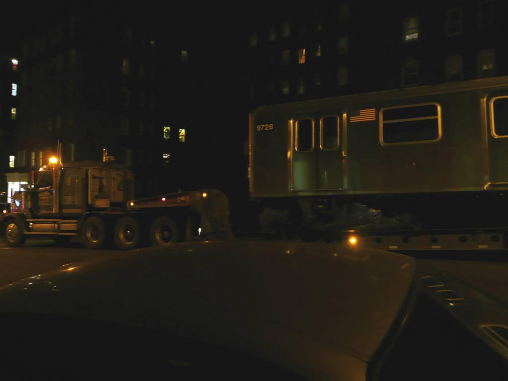(37k, 1024x768)<br><b>Country:</b> United States<br><b>City:</b> New York<br><b>System:</b> New York City Transit<br><b>Car:</b> R-160A (Option 2) (Alstom, 2009, 5-car sets)  9728 <br><b>Photo by:</b> Robbie Rosenfeld<br><b>Date:</b> 1/20/2010<br><b>Notes:</b> Car being delivered via Broadway to 207th Yard.<br><b>Viewed (this week/total):</b> 0 / 1094