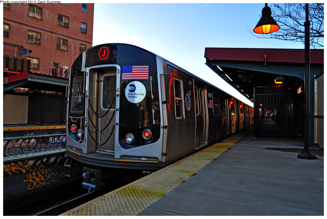 (275k, 1044x700)<br><b>Country:</b> United States<br><b>City:</b> New York<br><b>System:</b> New York City Transit<br><b>Line:</b> BMT Nassau Street/Jamaica Line<br><b>Location:</b> Lorimer Street <br><b>Route:</b> J<br><b>Car:</b> R-160A-1 (Alstom, 2005-2008, 4 car sets)  8469 <br><b>Photo by:</b> Zach Summer<br><b>Date:</b> 1/7/2010<br><b>Viewed (this week/total):</b> 0 / 1439