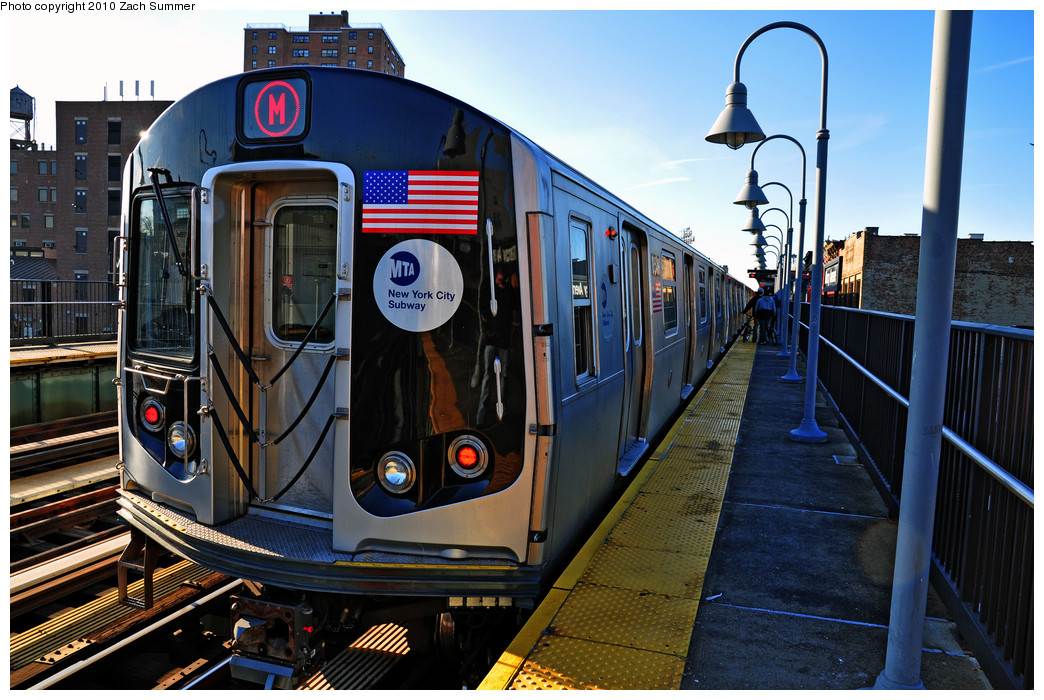 (301k, 1044x700)<br><b>Country:</b> United States<br><b>City:</b> New York<br><b>System:</b> New York City Transit<br><b>Line:</b> BMT Nassau Street/Jamaica Line<br><b>Location:</b> Marcy Avenue <br><b>Route:</b> M<br><b>Car:</b> R-160A-1 (Alstom, 2005-2008, 4 car sets)  8549 <br><b>Photo by:</b> Zach Summer<br><b>Date:</b> 1/7/2010<br><b>Viewed (this week/total):</b> 0 / 1172