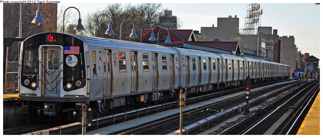 (215k, 1044x447)<br><b>Country:</b> United States<br><b>City:</b> New York<br><b>System:</b> New York City Transit<br><b>Line:</b> BMT Nassau Street/Jamaica Line<br><b>Location:</b> Marcy Avenue <br><b>Route:</b> M<br><b>Car:</b> R-160A-1 (Alstom, 2005-2008, 4 car sets)  8389 <br><b>Photo by:</b> Zach Summer<br><b>Date:</b> 1/7/2010<br><b>Viewed (this week/total):</b> 0 / 1180