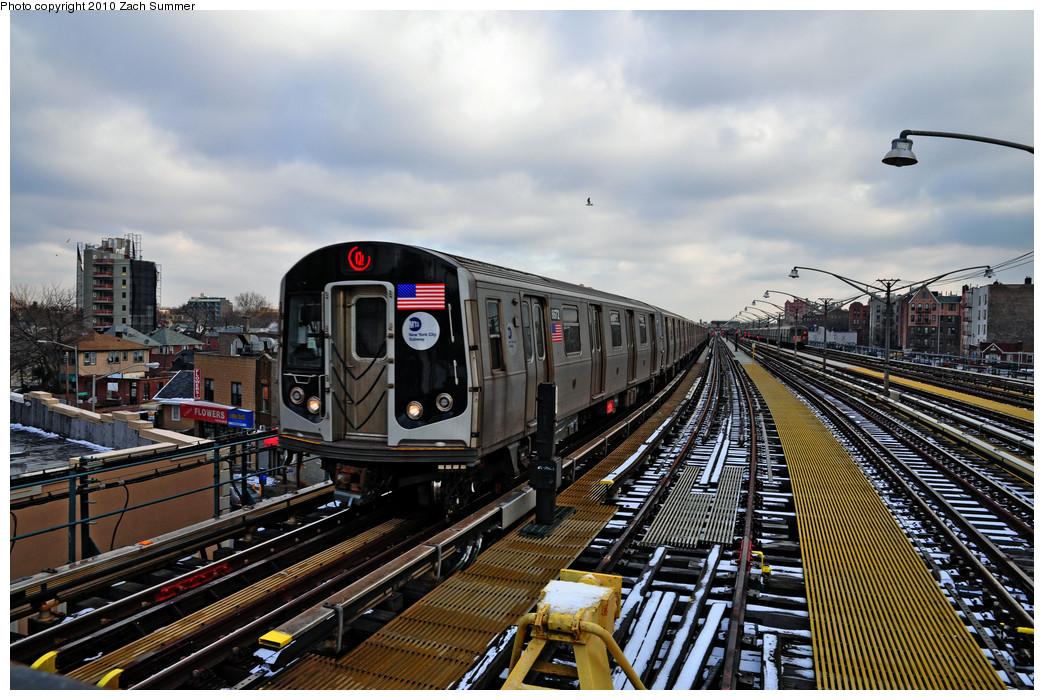 (302k, 1044x700)<br><b>Country:</b> United States<br><b>City:</b> New York<br><b>System:</b> New York City Transit<br><b>Line:</b> BMT Brighton Line<br><b>Location:</b> Ocean Parkway <br><b>Route:</b> Q<br><b>Car:</b> R-160A-2 (Alstom, 2005-2008, 5 car sets)  8672 <br><b>Photo by:</b> Zach Summer<br><b>Date:</b> 1/8/2010<br><b>Viewed (this week/total):</b> 0 / 1223