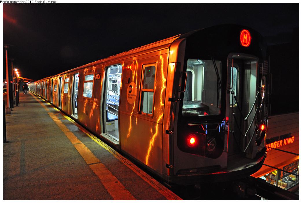 (261k, 1044x700)<br><b>Country:</b> United States<br><b>City:</b> New York<br><b>System:</b> New York City Transit<br><b>Line:</b> BMT West End Line<br><b>Location:</b> Bay Parkway <br><b>Route:</b> M<br><b>Car:</b> R-160A-1 (Alstom, 2005-2008, 4 car sets)  8404 <br><b>Photo by:</b> Zach Summer<br><b>Date:</b> 1/8/2010<br><b>Viewed (this week/total):</b> 0 / 1348