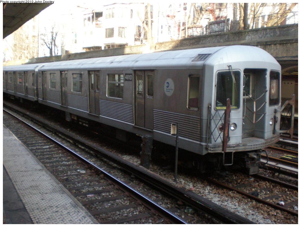 (263k, 1044x788)<br><b>Country:</b> United States<br><b>City:</b> New York<br><b>System:</b> New York City Transit<br><b>Line:</b> BMT Brighton Line<br><b>Location:</b> Parkside Avenue <br><b>Route:</b> J<br><b>Car:</b> R-42 (St. Louis, 1969-1970)  4810 <br><b>Photo by:</b> John Dooley<br><b>Date:</b> 1/16/2010<br><b>Viewed (this week/total):</b> 4 / 1269