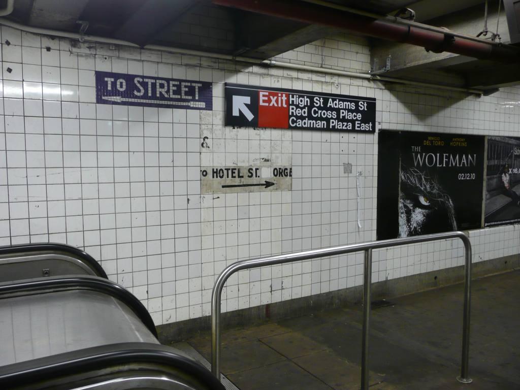 (116k, 1024x768)<br><b>Country:</b> United States<br><b>City:</b> New York<br><b>System:</b> New York City Transit<br><b>Line:</b> IND 8th Avenue Line<br><b>Location:</b> High Street/Brooklyn Bridge <br><b>Photo by:</b> Robbie Rosenfeld<br><b>Date:</b> 1/26/2010<br><b>Notes:</b> Old sign for Hotel St. George.<br><b>Viewed (this week/total):</b> 0 / 1983