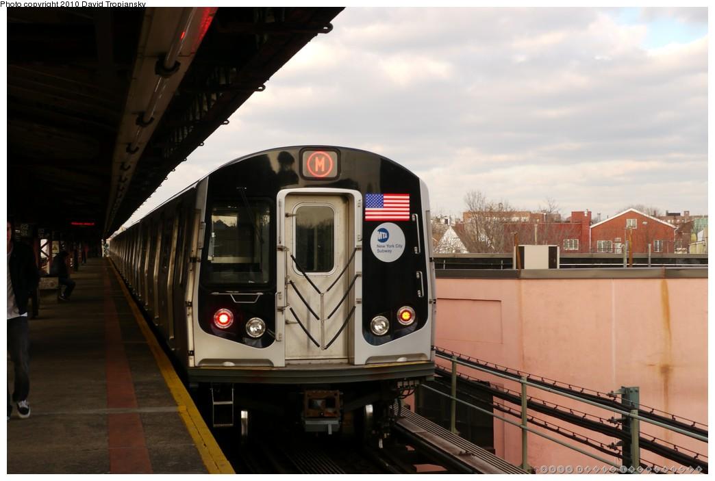 (150k, 1044x703)<br><b>Country:</b> United States<br><b>City:</b> New York<br><b>System:</b> New York City Transit<br><b>Line:</b> BMT West End Line<br><b>Location:</b> 62nd Street <br><b>Route:</b> M<br><b>Car:</b> R-160A-1 (Alstom, 2005-2008, 4 car sets)   <br><b>Photo by:</b> David Tropiansky<br><b>Date:</b> 1/27/2010<br><b>Viewed (this week/total):</b> 1 / 962