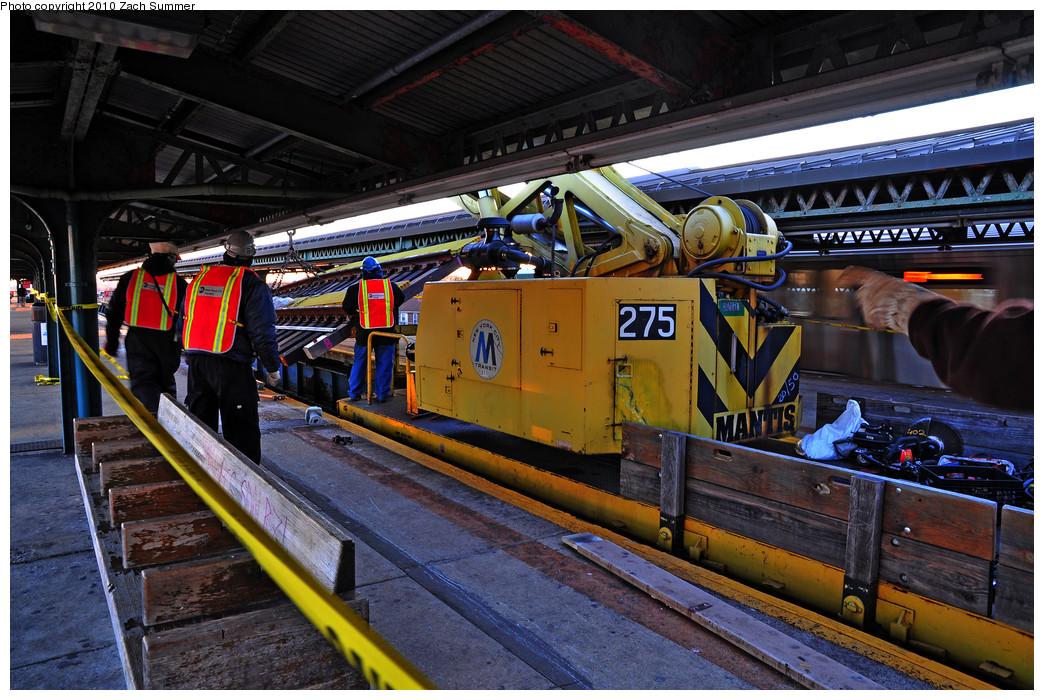 (320k, 1044x700)<br><b>Country:</b> United States<br><b>City:</b> New York<br><b>System:</b> New York City Transit<br><b>Line:</b> BMT Culver Line<br><b>Location:</b> 18th Avenue <br><b>Route:</b> Work Service<br><b>Car:</b> R-102 Crane Car  275 <br><b>Photo by:</b> Zach Summer<br><b>Date:</b> 1/9/2010<br><b>Notes:</b> Express track replacement<br><b>Viewed (this week/total):</b> 0 / 1026