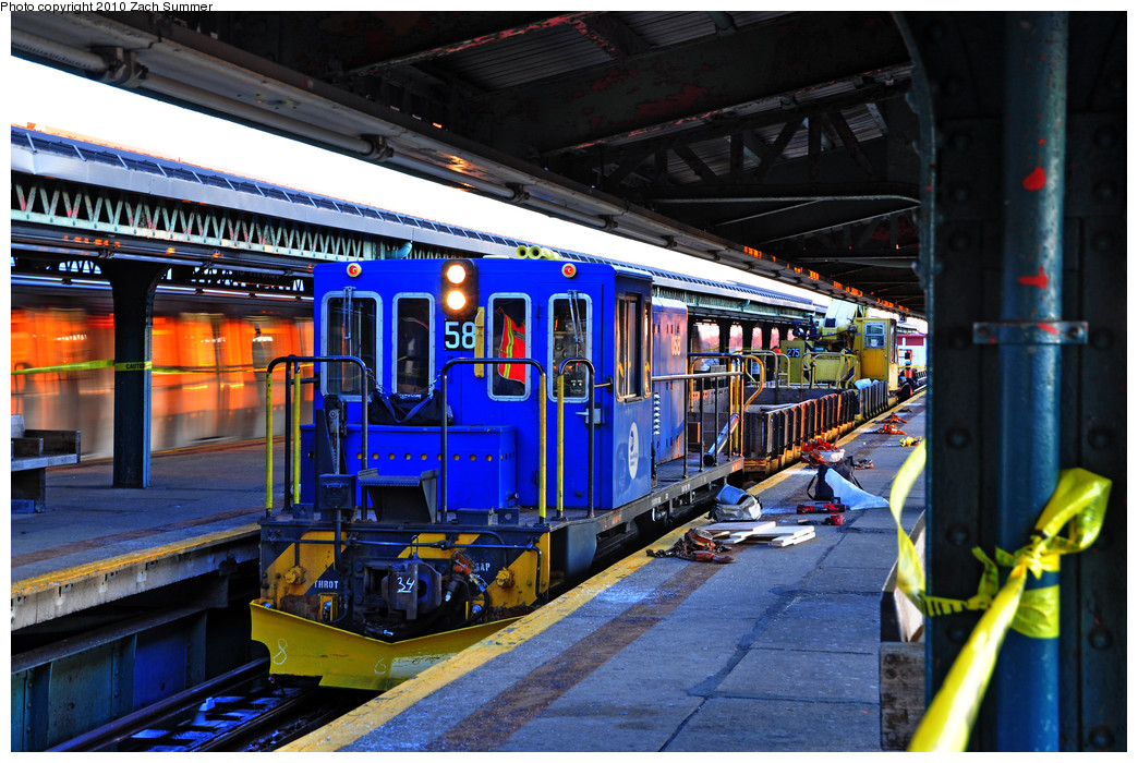 (318k, 1044x700)<br><b>Country:</b> United States<br><b>City:</b> New York<br><b>System:</b> New York City Transit<br><b>Line:</b> BMT Culver Line<br><b>Location:</b> 18th Avenue <br><b>Route:</b> Work Service<br><b>Car:</b> R-41 Locomotive  58 <br><b>Photo by:</b> Zach Summer<br><b>Date:</b> 1/9/2010<br><b>Notes:</b> Express track replacement<br><b>Viewed (this week/total):</b> 2 / 1157