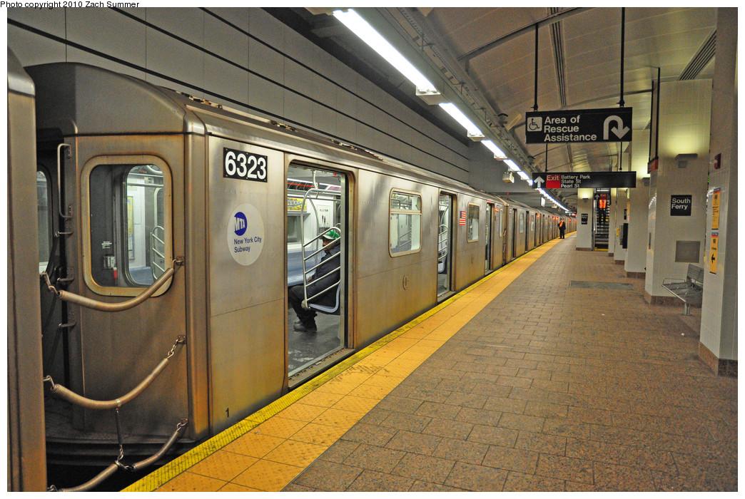(318k, 1044x700)<br><b>Country:</b> United States<br><b>City:</b> New York<br><b>System:</b> New York City Transit<br><b>Line:</b> IRT West Side Line<br><b>Location:</b> South Ferry (New Station) <br><b>Route:</b> 2 Reroute<br><b>Car:</b> R-142 (Primary Order, Bombardier, 1999-2002)  6323 <br><b>Photo by:</b> Zach Summer<br><b>Date:</b> 1/9/2010<br><b>Viewed (this week/total):</b> 2 / 1975