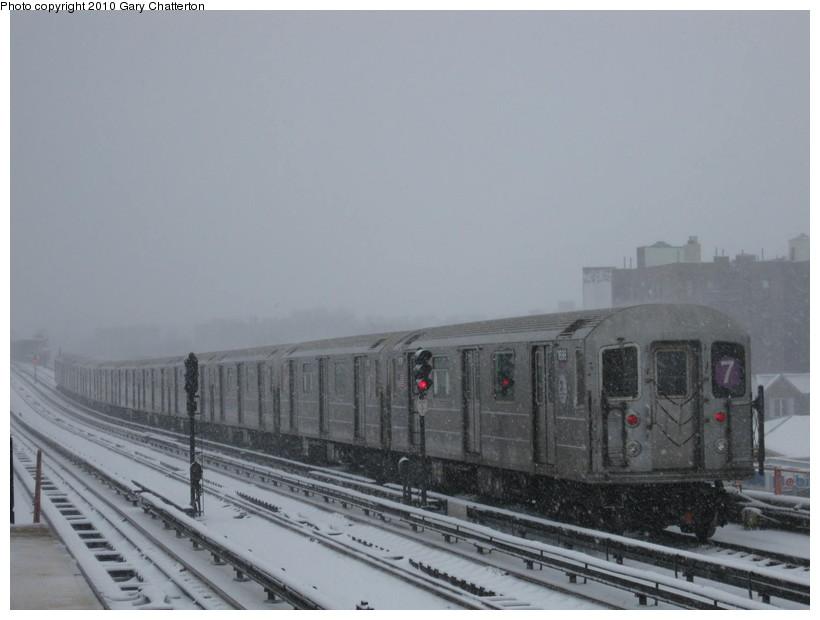 (98k, 820x620)<br><b>Country:</b> United States<br><b>City:</b> New York<br><b>System:</b> New York City Transit<br><b>Line:</b> IRT Flushing Line<br><b>Location:</b> 40th Street/Lowery Street <br><b>Route:</b> 7<br><b>Car:</b> R-62A (Bombardier, 1984-1987)  1696 <br><b>Photo by:</b> Gary Chatterton<br><b>Date:</b> 2/10/2010<br><b>Viewed (this week/total):</b> 0 / 1128