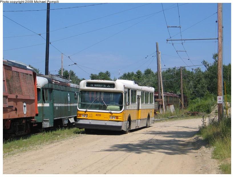 (139k, 820x620)<br><b>Country:</b> United States<br><b>City:</b> Kennebunk, ME<br><b>System:</b> Seashore Trolley Museum <br><b>Car:</b> MBTA Trolleybus 4013 <br><b>Photo by:</b> Michael Pompili<br><b>Date:</b> 7/13/2008<br><b>Viewed (this week/total):</b> 2 / 646