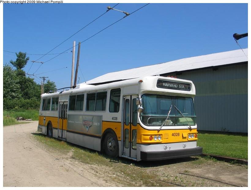 (130k, 820x620)<br><b>Country:</b> United States<br><b>City:</b> Kennebunk, ME<br><b>System:</b> Seashore Trolley Museum <br><b>Car:</b> MBTA Trolleybus 4028 <br><b>Photo by:</b> Michael Pompili<br><b>Date:</b> 7/13/2008<br><b>Viewed (this week/total):</b> 1 / 584