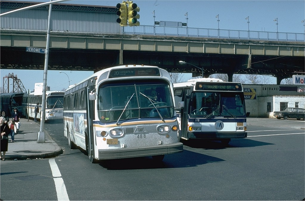 (229k, 1024x675)<br><b>Country:</b> United States<br><b>City:</b> New York<br><b>System:</b> New York City Transit<br><b>Line:</b> IRT Woodlawn Line<br><b>Location:</b> Bedford Park Boulevard <br><b>Photo by:</b> Steve Zabel<br><b>Collection of:</b> Joe Testagrose<br><b>Date:</b> 3/20/1982<br><b>Notes:</b> View of station with ClubTransportation bus #488 on Rt. 20<br><b>Viewed (this week/total):</b> 0 / 3698