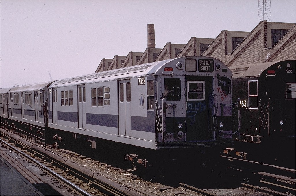 (220k, 1024x680)<br><b>Country:</b> United States<br><b>City:</b> New York<br><b>System:</b> New York City Transit<br><b>Location:</b> East 180th Street Yard<br><b>Car:</b> R-21 (St. Louis, 1956-57) 7052 <br><b>Photo by:</b> Joe Testagrose<br><b>Date:</b> 5/6/1972<br><b>Viewed (this week/total):</b> 3 / 2825