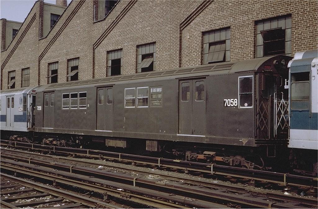(299k, 1024x673)<br><b>Country:</b> United States<br><b>City:</b> New York<br><b>System:</b> New York City Transit<br><b>Location:</b> East 180th Street Yard<br><b>Car:</b> R-21 (St. Louis, 1956-57) 7058 <br><b>Photo by:</b> Steve Zabel<br><b>Collection of:</b> Joe Testagrose<br><b>Date:</b> 8/15/1971<br><b>Viewed (this week/total):</b> 11 / 2701