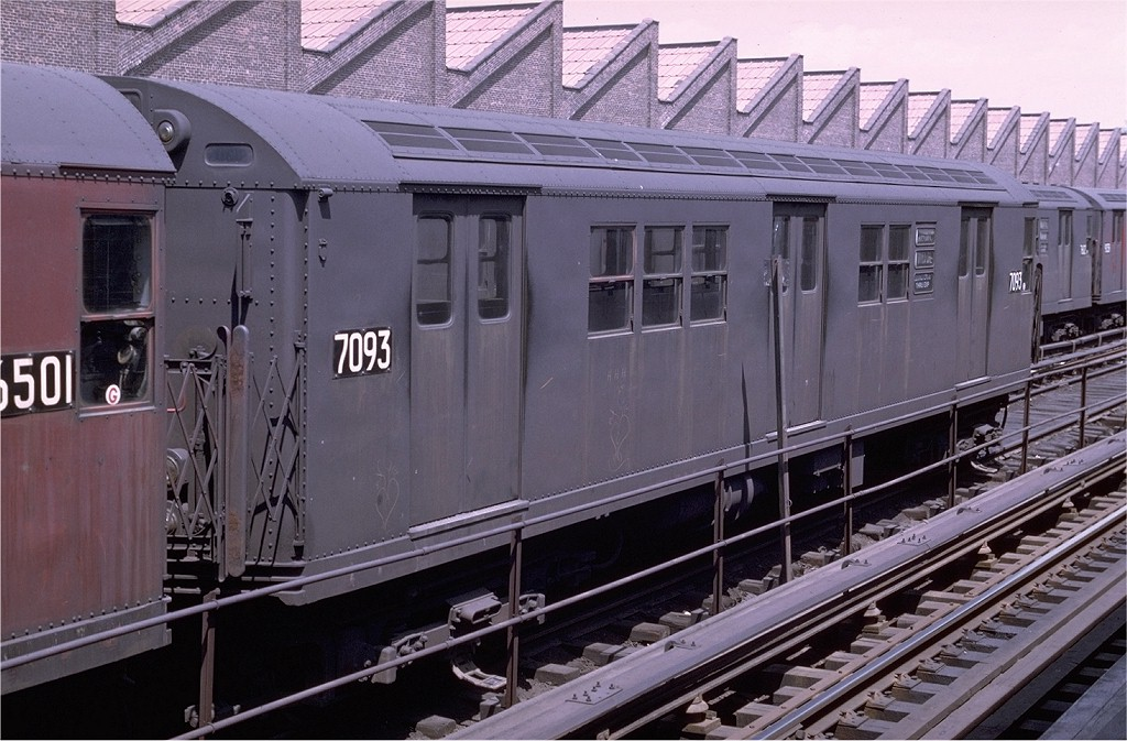 (205k, 1024x673)<br><b>Country:</b> United States<br><b>City:</b> New York<br><b>System:</b> New York City Transit<br><b>Location:</b> East 180th Street Yard<br><b>Car:</b> R-21 (St. Louis, 1956-57) 7093 <br><b>Photo by:</b> Joe Testagrose<br><b>Date:</b> 5/4/1969<br><b>Viewed (this week/total):</b> 1 / 2149