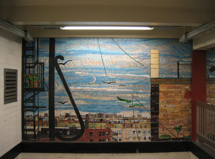 (69k, 731x541)<br><b>Country:</b> United States<br><b>City:</b> New York<br><b>System:</b> New York City Transit<br><b>Line:</b> IND Concourse Line<br><b>Location:</b> Tremont Avenue <br><b>Photo by:</b> Robbie Rosenfeld<br><b>Date:</b> 3/7/2005<br><b>Artwork:</b> <i>Uptown New York</i>, Frank Leslie Hampton (2000).<br><b>Viewed (this week/total):</b> 0 / 4386