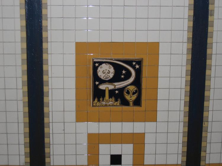 (48k, 750x562)<br><b>Country:</b> United States<br><b>City:</b> New York<br><b>System:</b> New York City Transit<br><b>Line:</b> IRT Brooklyn Line<br><b>Location:</b> Utica Avenue <br><b>Photo by:</b> Robbie Rosenfeld<br><b>Date:</b> 2/14/2005<br><b>Artwork:</b> <i>Good Morning, Good Night</i>, Hugo Consuegra.<br><b>Viewed (this week/total):</b> 7 / 2751