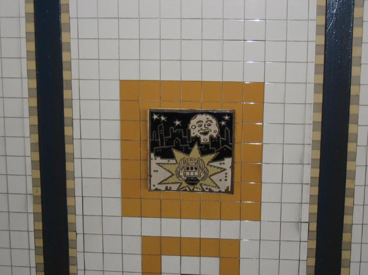 (50k, 750x562)<br><b>Country:</b> United States<br><b>City:</b> New York<br><b>System:</b> New York City Transit<br><b>Line:</b> IRT Brooklyn Line<br><b>Location:</b> Utica Avenue <br><b>Photo by:</b> Robbie Rosenfeld<br><b>Date:</b> 2/14/2005<br><b>Artwork:</b> <i>Good Morning, Good Night</i>, Hugo Consuegra.<br><b>Viewed (this week/total):</b> 0 / 2586