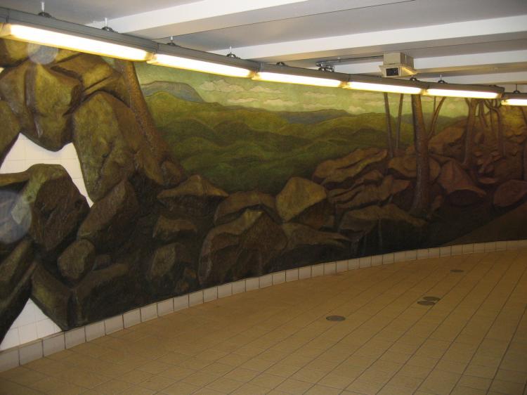 (51k, 750x562)<br><b>Country:</b> United States<br><b>City:</b> New York<br><b>System:</b> New York City Transit<br><b>Line:</b> IRT West Side Line<br><b>Location:</b> Wall Street <br><b>Photo by:</b> Robbie Rosenfeld<br><b>Date:</b> 8/2/2004<br><b>Artwork:</b> <i>Subway Wall</i>, Harry Roseman (1990).<br><b>Viewed (this week/total):</b> 2 / 5084