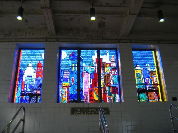 (78k, 750x562)<br><b>Country:</b> United States<br><b>City:</b> New York<br><b>System:</b> New York City Transit<br><b>Line:</b> IRT Pelham Line<br><b>Location:</b> Westchester Square <br><b>Photo by:</b> Robbie Rosenfeld<br><b>Date:</b> 4/6/2005<br><b>Artwork:</b> <i>City of Light</i>, Romare Bearden (1993).<br><b>Viewed (this week/total):</b> 5 / 4503
