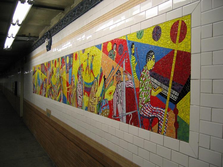 (82k, 750x562)<br><b>Country:</b> United States<br><b>City:</b> New York<br><b>System:</b> New York City Transit<br><b>Line:</b> IRT Lenox Avenue Line<br><b>Location:</b> 116th Street<br><b>Photo by:</b> Robbie Rosenfeld<br><b>Date:</b> 2/8/2005<br><b>Artwork:</b> <i>Minton's Playhouse/Movers and Shakers</i>, Vincent Smith, 1999<br><b>Viewed (this week/total):</b> 2 / 4137