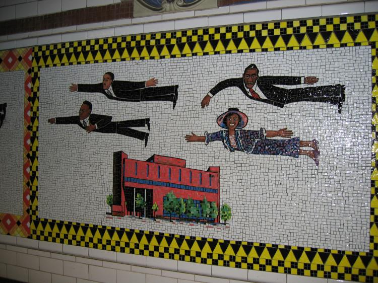 (111k, 750x562)<br><b>Country:</b> United States<br><b>City:</b> New York<br><b>System:</b> New York City Transit<br><b>Line:</b> IRT Lenox Line<br><b>Location:</b> 125th Street <br><b>Photo by:</b> Robbie Rosenfeld<br><b>Date:</b> 2/8/2005<br><b>Artwork:</b> <i>Flying Home Harlem Heroes and Heroines</i>, Faith Ringgold (1996).<br><b>Viewed (this week/total):</b> 6 / 6288