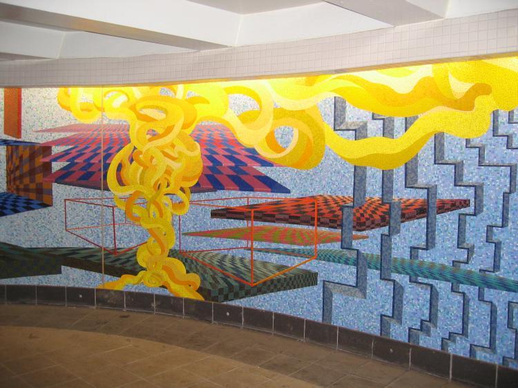 (81k, 750x562)<br><b>Country:</b> United States<br><b>City:</b> New York<br><b>System:</b> New York City Transit<br><b>Location:</b> 51st-53rd & Lex IRT-IND Transfer<br><b>Photo by:</b> Robbie Rosenfeld<br><b>Date:</b> 3/1/2005<br><b>Artwork:</b> <i>Passing Through</i>, Al Held (2004).<br><b>Viewed (this week/total):</b> 0 / 2031