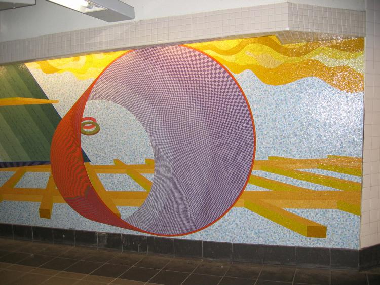 (84k, 750x562)<br><b>Country:</b> United States<br><b>City:</b> New York<br><b>System:</b> New York City Transit<br><b>Location:</b> 51st-53rd & Lex IRT-IND Transfer<br><b>Photo by:</b> Robbie Rosenfeld<br><b>Date:</b> 3/1/2005<br><b>Artwork:</b> <i>Passing Through</i>, Al Held (2004).<br><b>Viewed (this week/total):</b> 4 / 3054