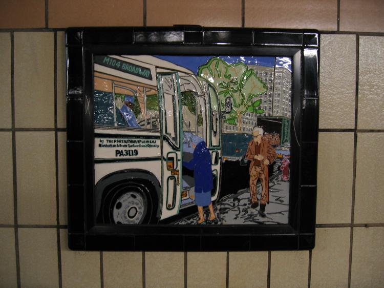 (65k, 750x562)<br><b>Country:</b> United States<br><b>City:</b> New York<br><b>System:</b> New York City Transit<br><b>Line:</b> IRT West Side Line<br><b>Location:</b> 86th Street <br><b>Photo by:</b> Robbie Rosenfeld<br><b>Date:</b> 1/19/2005<br><b>Artwork:</b> <i>Westside Views</i>, Nitza Tufino (1989).<br><b>Viewed (this week/total):</b> 2 / 3202